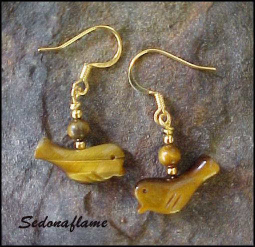 Tigreye Birds in Gold