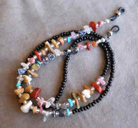 Multi Gemstone Nugget Chip Eyeglass Chain�
